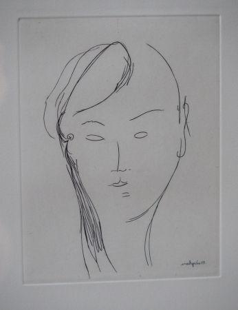 Grabado Modigliani - Visage de femme (1920)