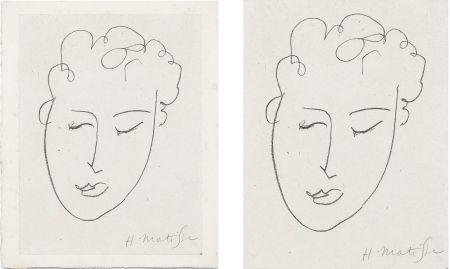 Litografía Matisse - VISAGE DE FEMME. Pour Jules Romains : Pierres Levées, poèmes. Paris 1948