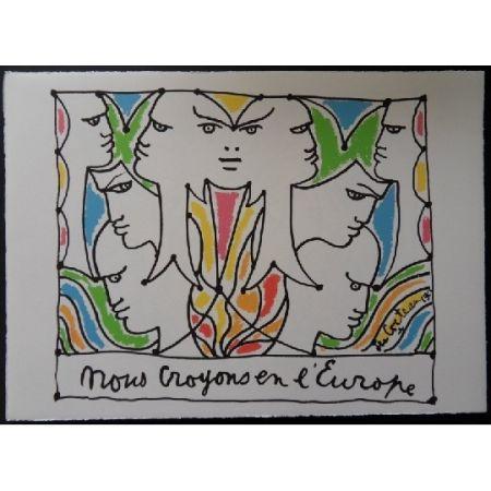 Litografía Cocteau - Visages l'Europe