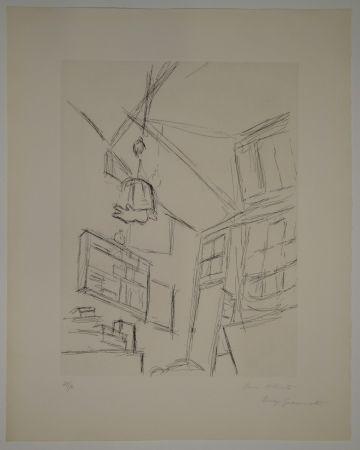 Aguafuerte Giacometti - Vision depuis le lit dans la chambre rue Hippolyte Maindron / Vision du Lit et Abat-jour (View from the Bed, with Lampshade).