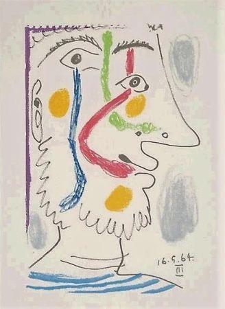 Litografía Picasso - Viso colorato
