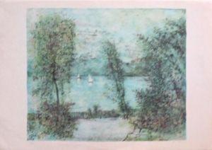 Litografía Gantner - Voiliers sur le lac
