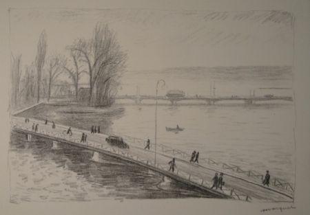 Aguafuerte Marquet - Vue de deux Ponts (L'île Rousseau, Genève).