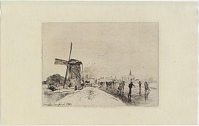 Grabado Jongkind - Vue de la ville de Maassluis, in Eaux-fortes modernes publiées par la Société des Aqua-fortistes.