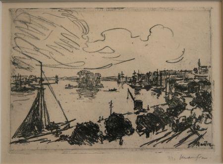 Litografía Maufra - Vue de Port.