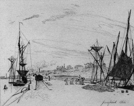 Aguafuerte Jongkind - Vue du port au chemin de fer a Honfleur