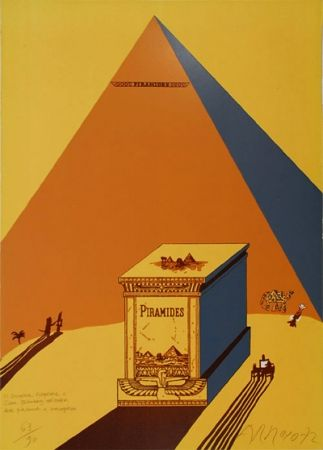 Litografía Arroyo - W. Churchill, Napoleone e Saul Steinberg all 'ombra delle Piramidi a Mezzogiorno