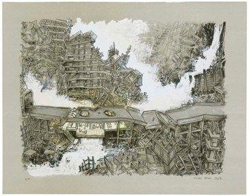 Litografía Oiwa - Waterfall House
