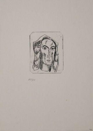 Grabado Tappert - Weiblicher Kopf mit Tuch