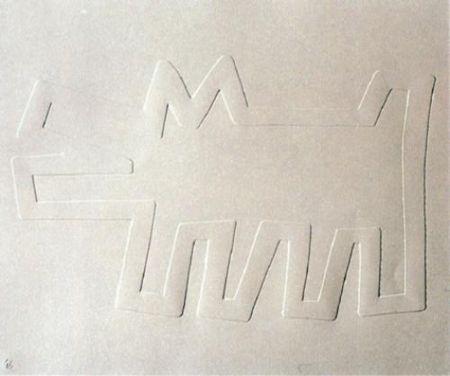 Serigrafía Haring - White Icons: Barking Dog