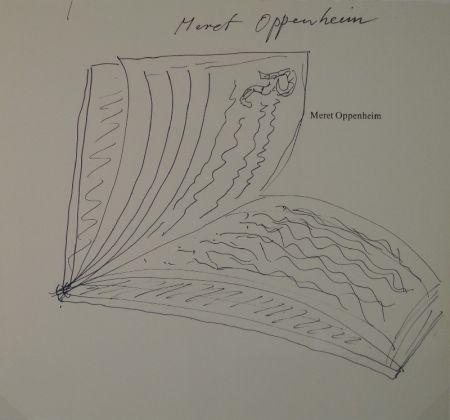 """Sin Técnico Oppenheim - Widmungszeichnung eines aufgeschlagenen Buches mit Initial R. auf dem Vortitel eines Buchs mit gedrucktem Namen """"Meret Oppenheim"""""""