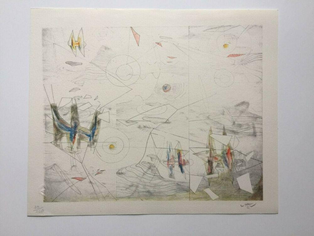 Litografía Matta - Wings of light (from Morfolgie Verbali)