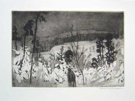 Aguafuerte Y Aguatinta Hoffmann - Winter Wanderer