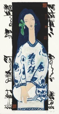 Litografía Tongzhengang - Woman and cat