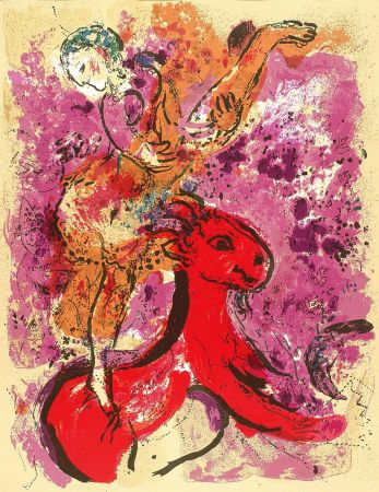 Litografía Chagall - Woman Circus Rider On Red Horse