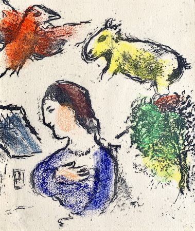 Litografía Chagall - Woman with animals
