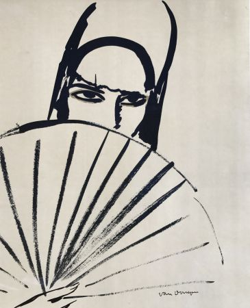 Litografía Van Dongen - Woman with fan