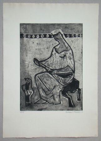 Aguafuerte Y Aguatinta Schlotter - Woman with mandolin
