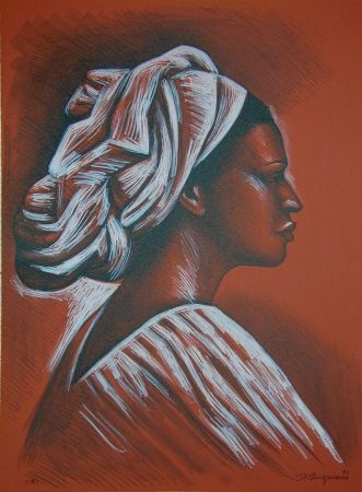 Litografía Anguiano - Woman with turban