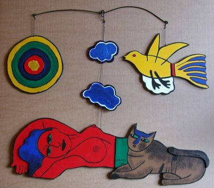 Múltiple Corneille - Women in the sky, large painted wood