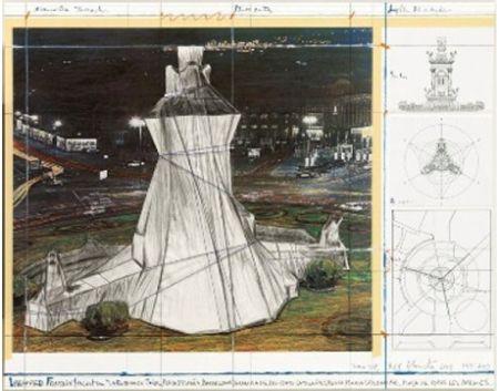 Litografía Christo - Wrapped Fountain