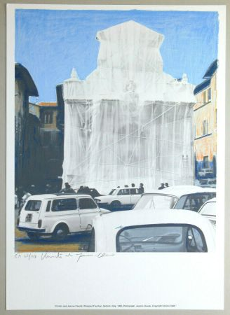 Litografía Christo - Wrapped fountain, Spoleto 1968