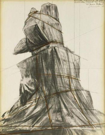 Litografía Christo - Wrapped monument to Vittorio Emanuele