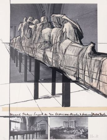 Serigrafía Christo - Wrapped Statues - Project for Der Glyptothek