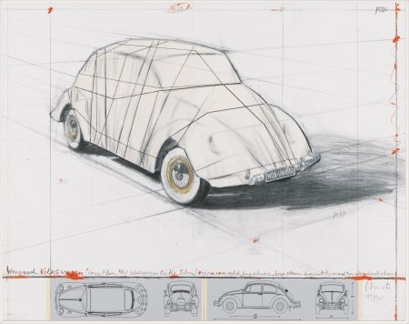Litografía Christo - Wrapped Volkswagen (PROJECT FOR 1961 VOLKSWAGEN BEETLE SALOON)