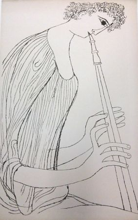 Litografía Shahn - Young Man Playing Double Oboe