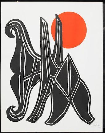 Litografía Calder - Young Woman And Her Suitors