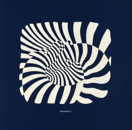 Serigrafía Vasarely - Zèbres sur fond bleu