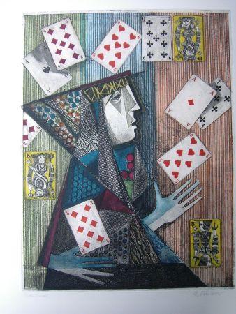 Aguafuerte Y Aguatinta Finsterer - Zauberer / Magician