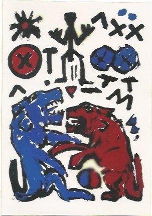 Serigrafía Penck - Zwei Lowen