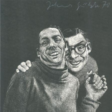 Linograbado Grützke - Zwei Männer