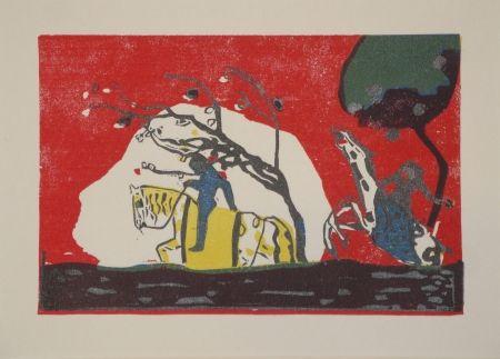 Grabado En Madera Kandinsky - Zwei Reiter vor Rot.
