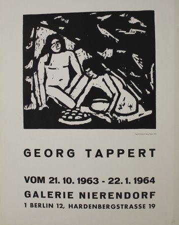 Grabado En Madera Tappert - Zwei sitzende Mädchenakte