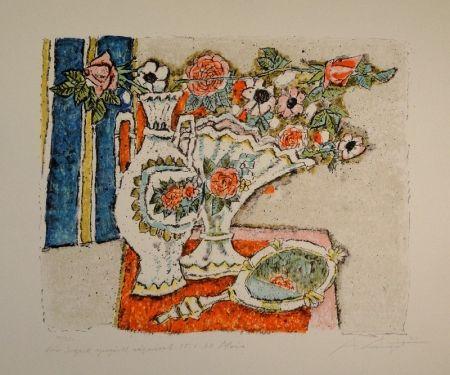 Litografía Carigiet - (Zwei Vasen mit Rosen